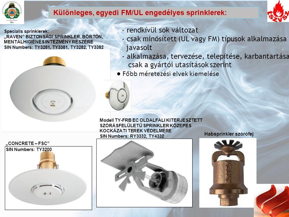 Különleges, egyedi FM/UL engedélyes sprinklerek: