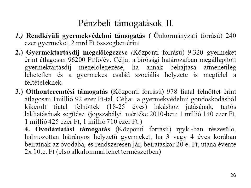 Pénzbeli támogatások II.