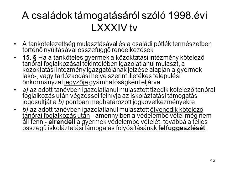 A családok támogatásáról szóló 1998.évi LXXXIV tv
