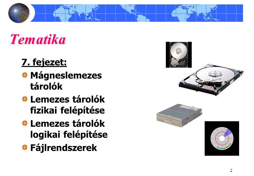 Tematika 7. fejezet: Mágneslemezes tárolók