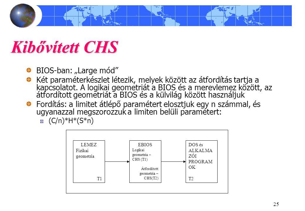 """Kibővített CHS BIOS-ban: """"Large mód"""
