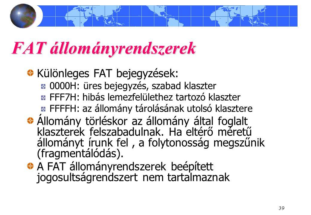 FAT állományrendszerek