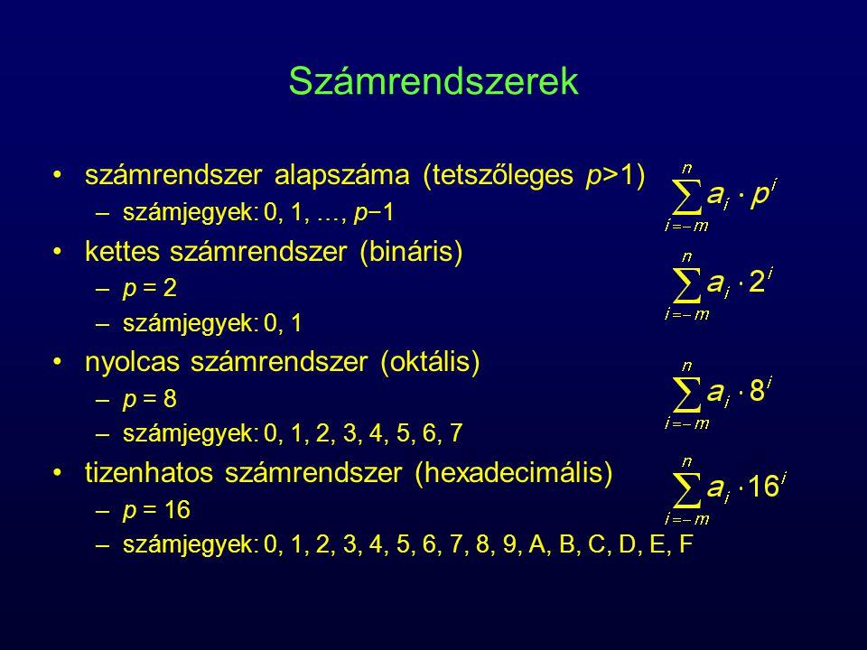 Számrendszerek számrendszer alapszáma (tetszőleges p>1)