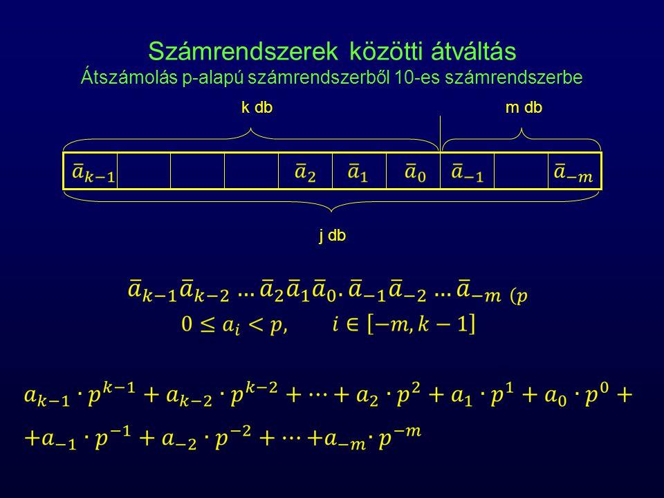 Számrendszerek közötti átváltás Átszámolás p-alapú számrendszerből 10-es számrendszerbe