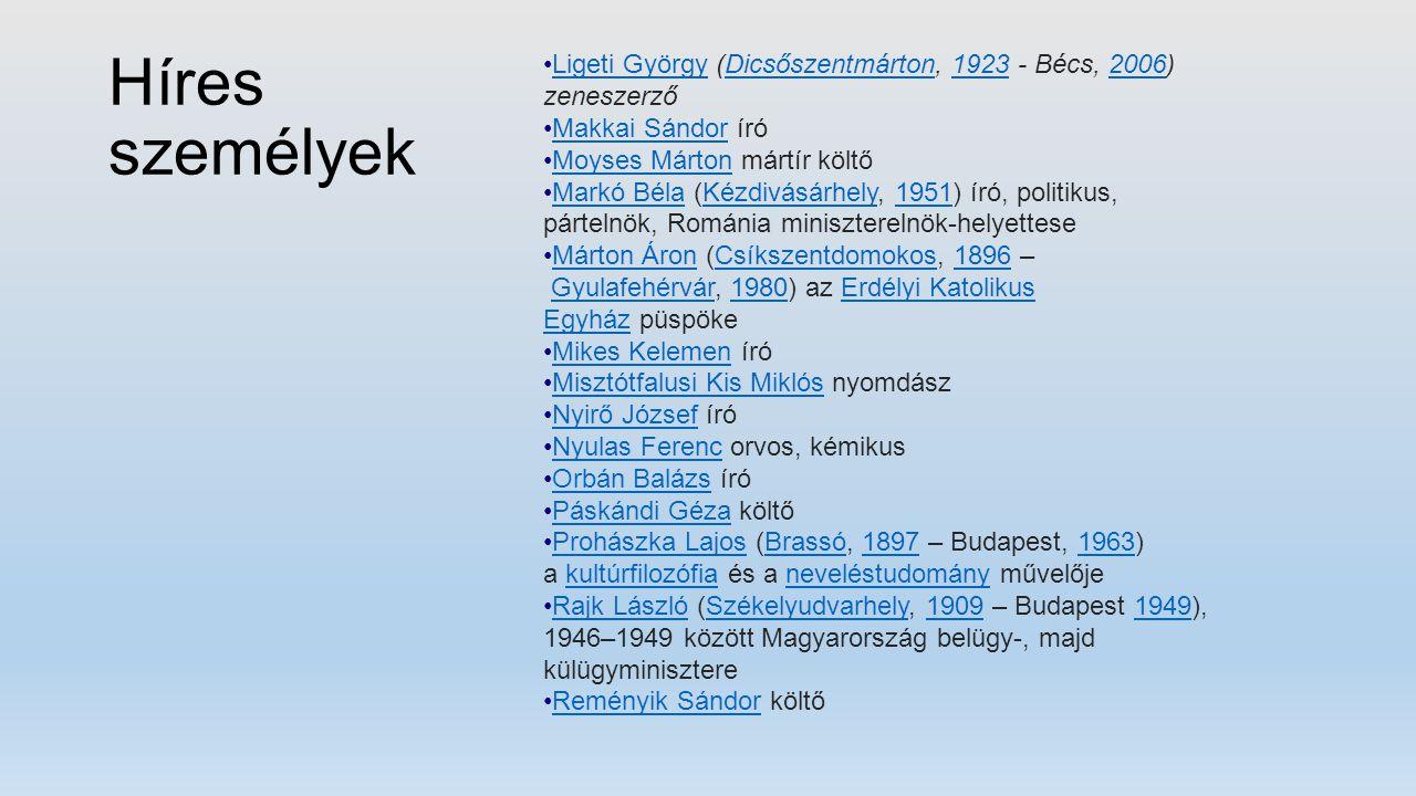 Híres személyek Ligeti György (Dicsőszentmárton, 1923 - Bécs, 2006) zeneszerző. Makkai Sándor író.