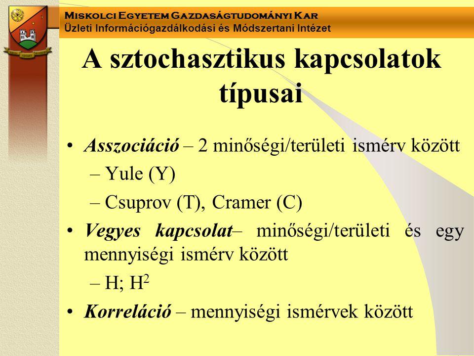 A sztochasztikus kapcsolatok típusai