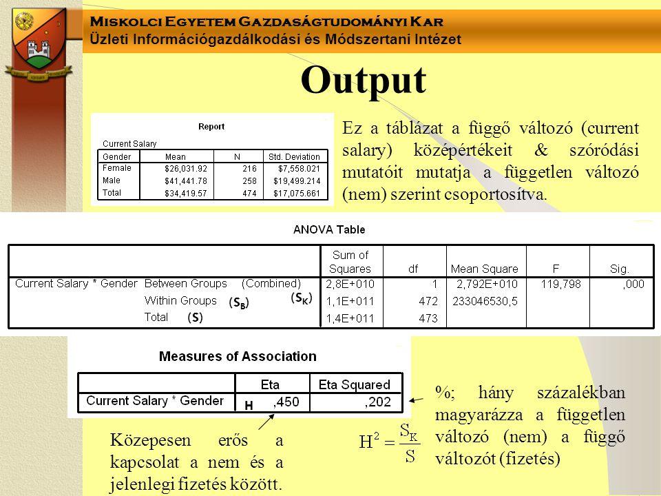 Output Ez a táblázat a függő változó (current salary) középértékeit & szóródási mutatóit mutatja a független változó (nem) szerint csoportosítva.