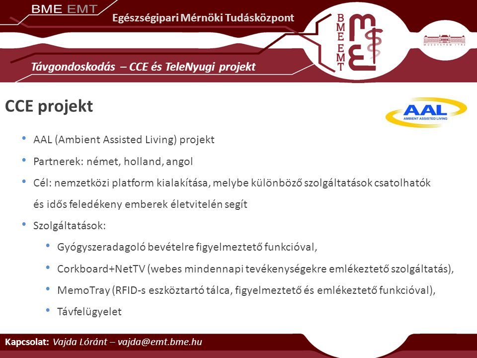CCE projekt Távgondoskodás – CCE és TeleNyugi projekt