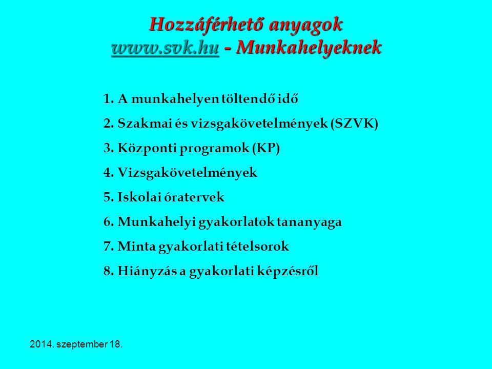 Hozzáférhető anyagok www.svk.hu - Munkahelyeknek