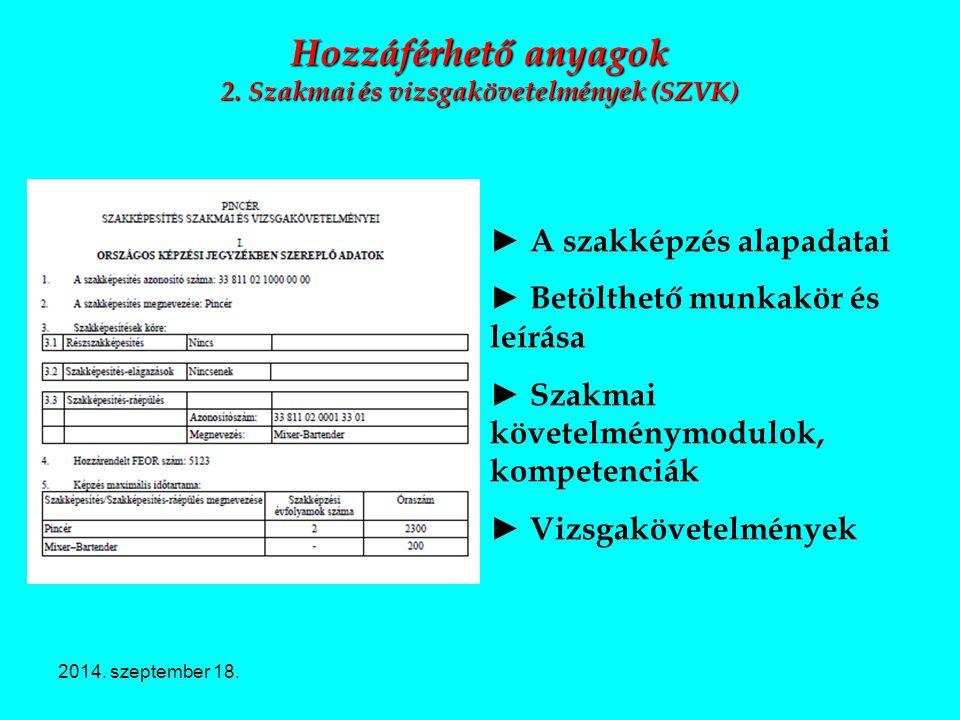 Hozzáférhető anyagok 2. Szakmai és vizsgakövetelmények (SZVK)