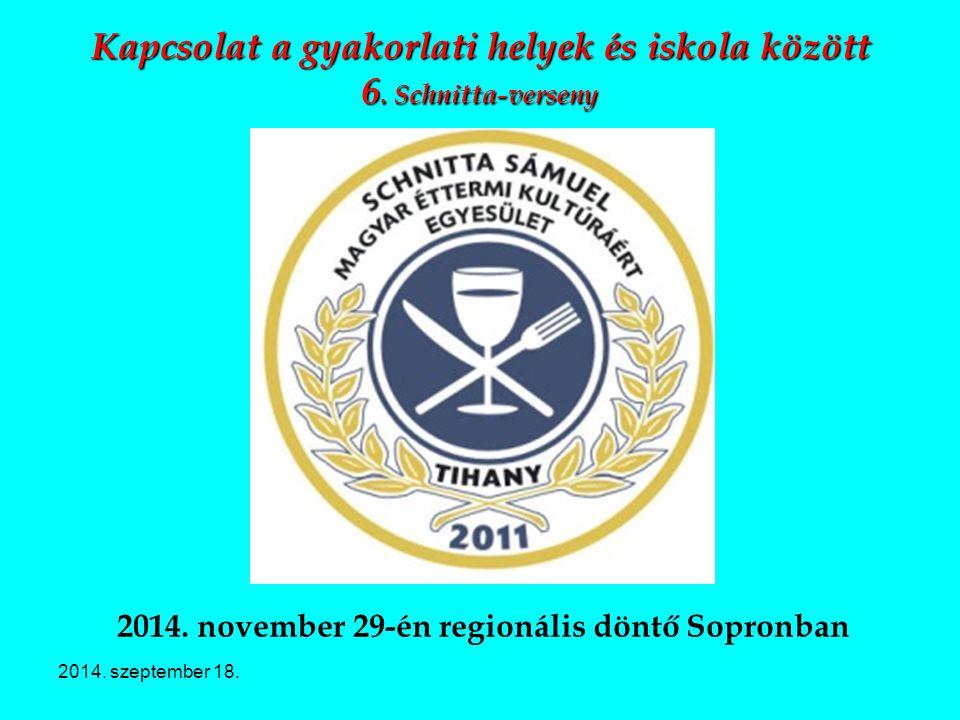 Kapcsolat a gyakorlati helyek és iskola között 6. Schnitta-verseny