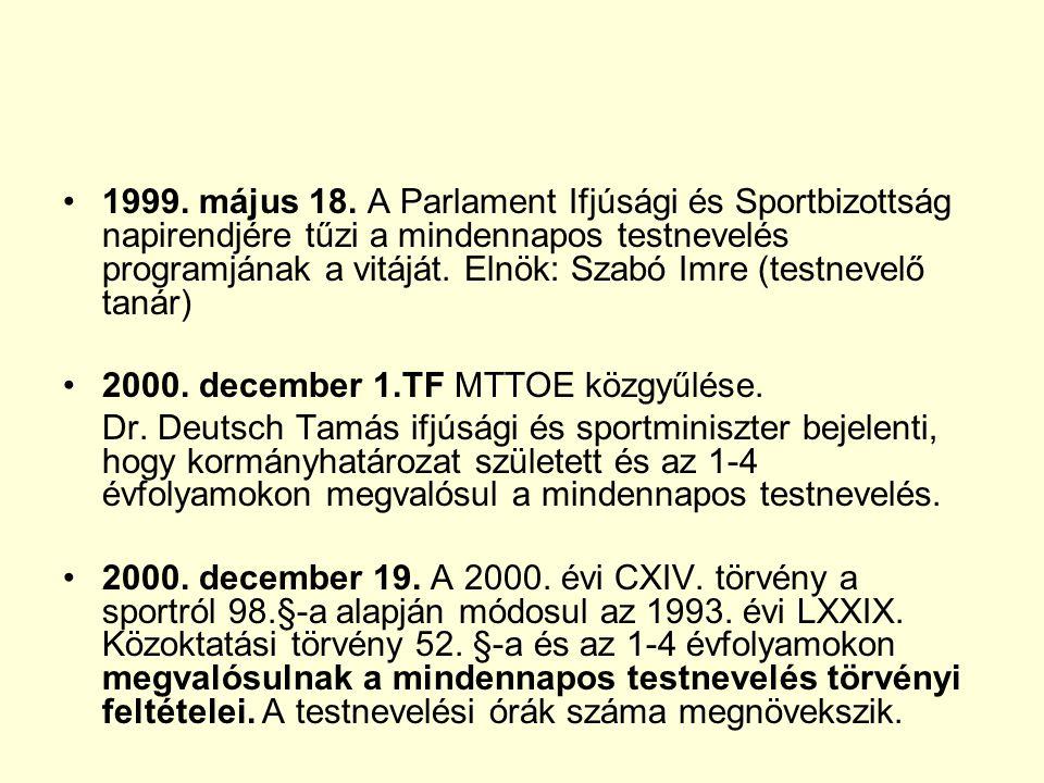1999. május 18. A Parlament Ifjúsági és Sportbizottság napirendjére tűzi a mindennapos testnevelés programjának a vitáját. Elnök: Szabó Imre (testnevelő tanár)