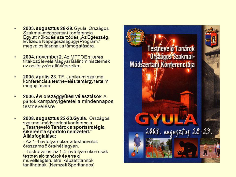 """2003. augusztus 28-29. Gyula. Országos Szakmai-módszertani konferencia Együttműködési szerződés """"Az Egészség, Évtizede Népegészségügyi Program. megvalósításának a támogatására."""