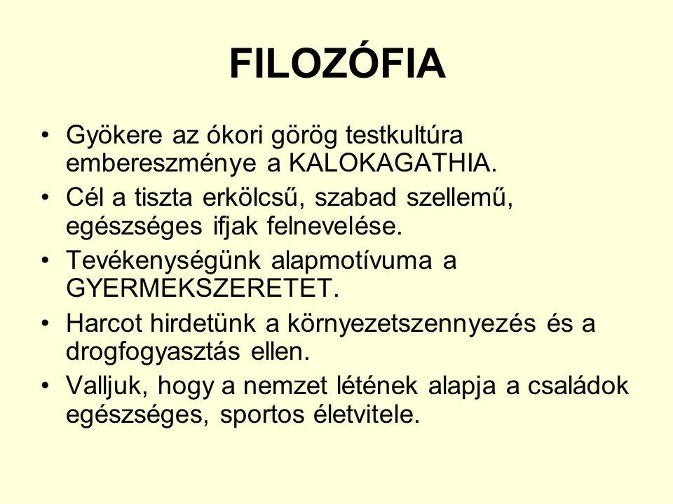 FILOZÓFIA Gyökere az ókori görög testkultúra embereszménye a KALOKAGATHIA. Cél a tiszta erkölcsű, szabad szellemű, egészséges ifjak felnevelése.