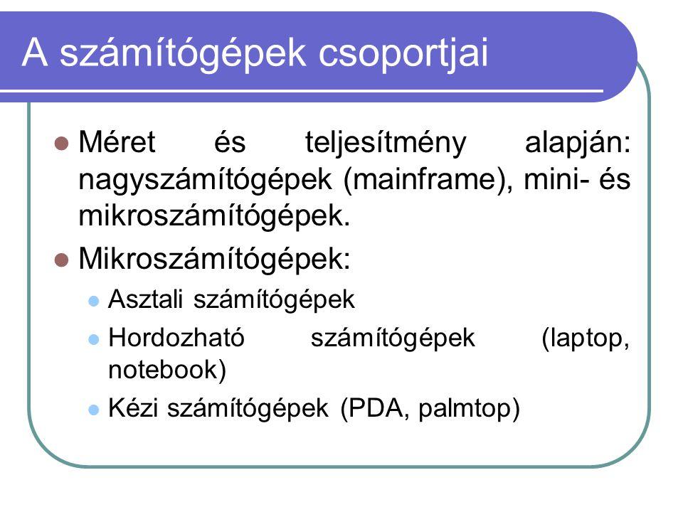 A számítógépek csoportjai