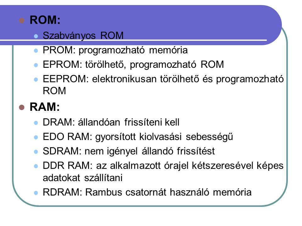 ROM: RAM: Szabványos ROM PROM: programozható memória