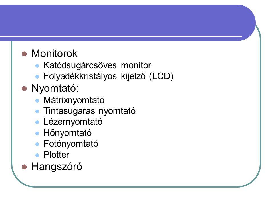 Monitorok Nyomtató: Hangszóró Katódsugárcsöves monitor