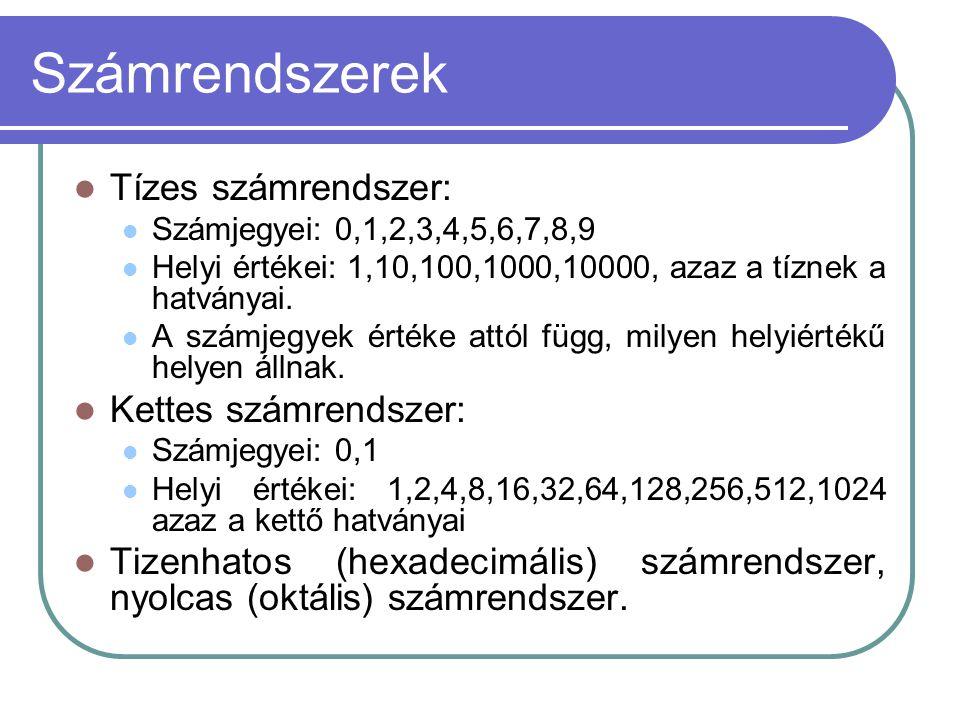 Számrendszerek Tízes számrendszer: Kettes számrendszer: