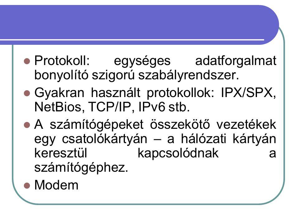 Protokoll: egységes adatforgalmat bonyolító szigorú szabályrendszer.