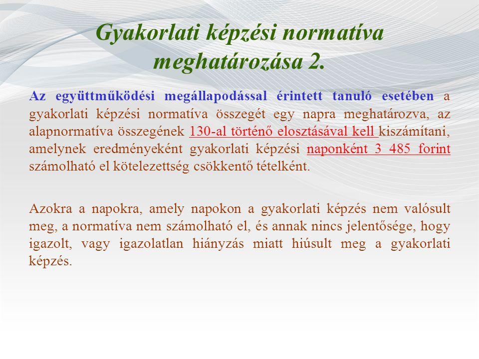Gyakorlati képzési normatíva meghatározása 2.