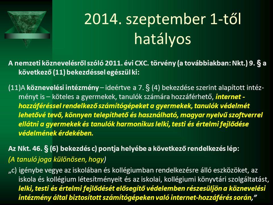 2014. szeptember 1-től hatályos