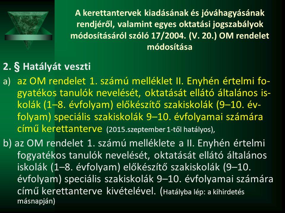 A kerettantervek kiadásának és jóváhagyásának rendjéről, valamint egyes oktatási jogszabályok módosításáról szóló 17/2004. (V. 20.) OM rendelet módosítása