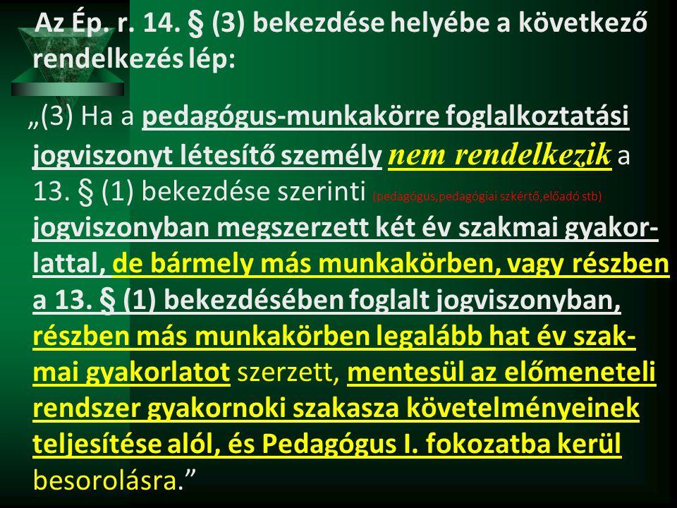 Az Ép. r. 14. § (3) bekezdése helyébe a következő rendelkezés lép: