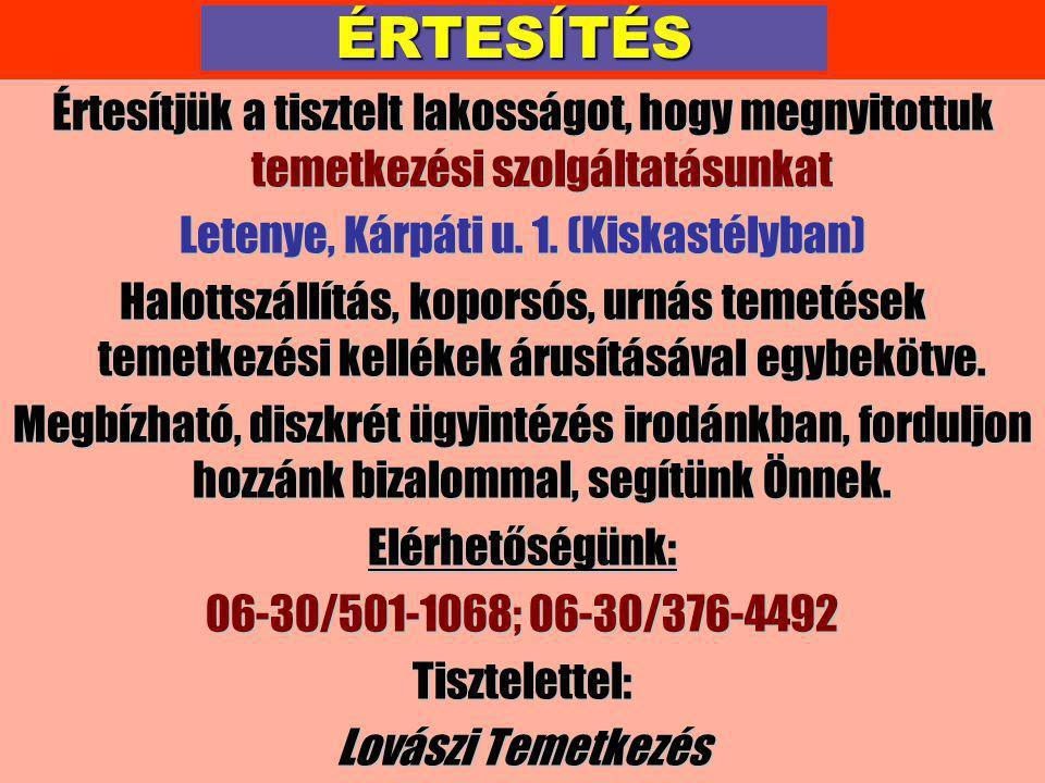Letenye, Kárpáti u. 1. (Kiskastélyban)