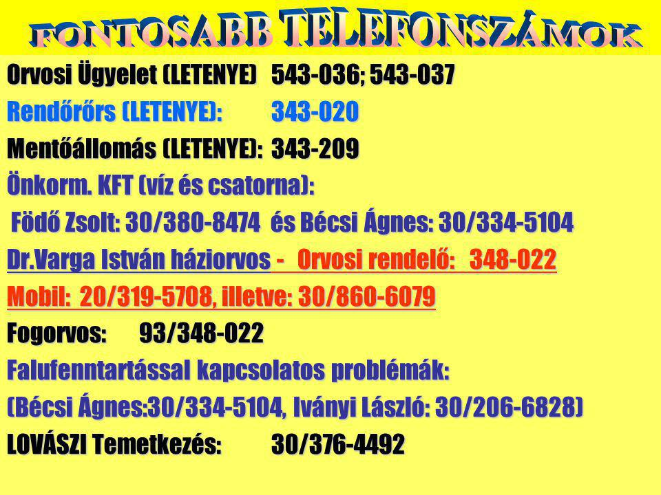 FONTOSABB TELEFONSZÁMOK