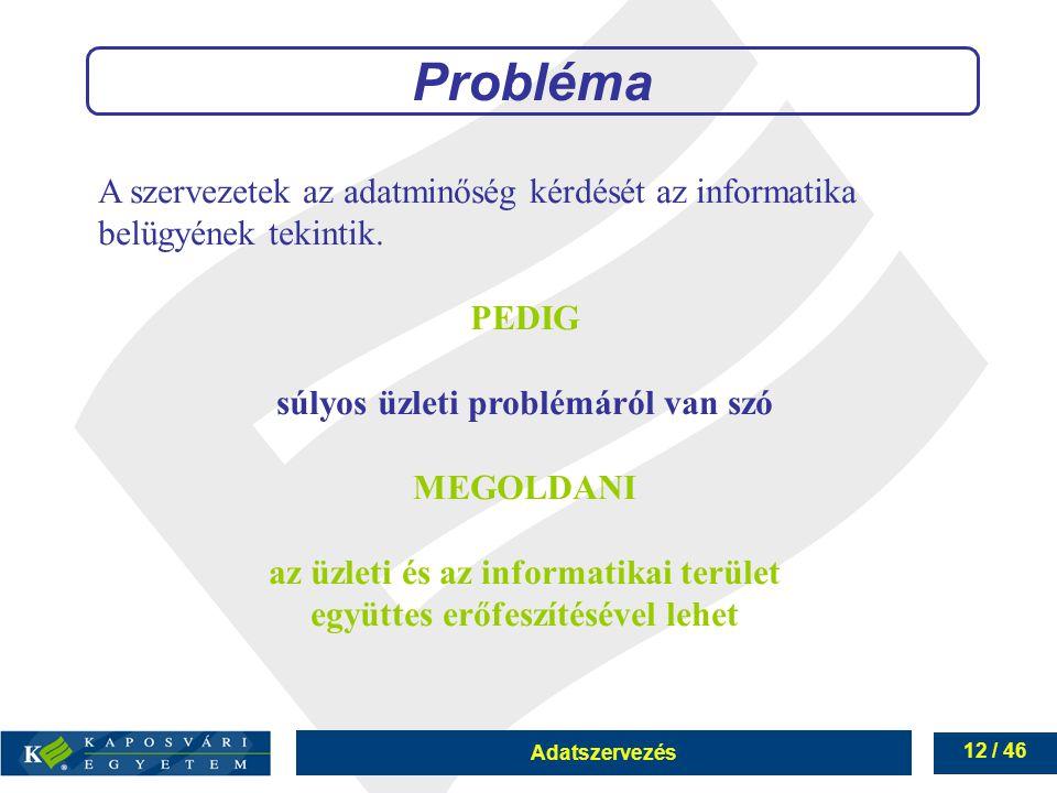 Probléma A szervezetek az adatminőség kérdését az informatika belügyének tekintik. PEDIG. súlyos üzleti problémáról van szó.