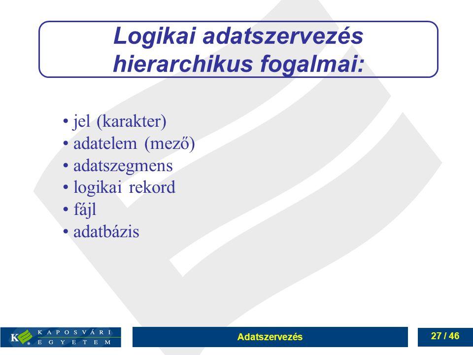 Logikai adatszervezés hierarchikus fogalmai: