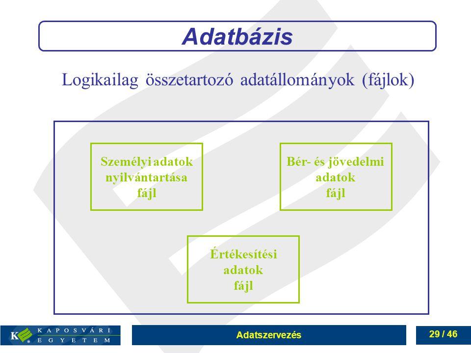 Logikailag összetartozó adatállományok (fájlok)