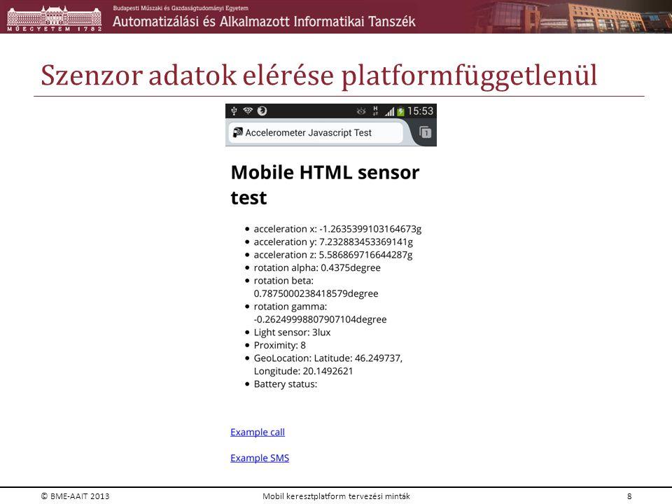 Szenzor adatok elérése platformfüggetlenül