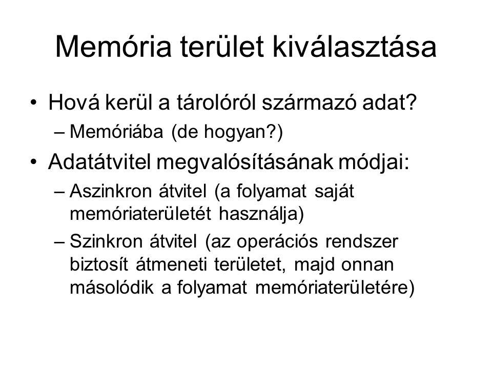 Memória terület kiválasztása