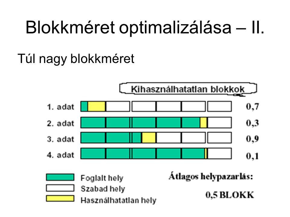 Blokkméret optimalizálása – II.