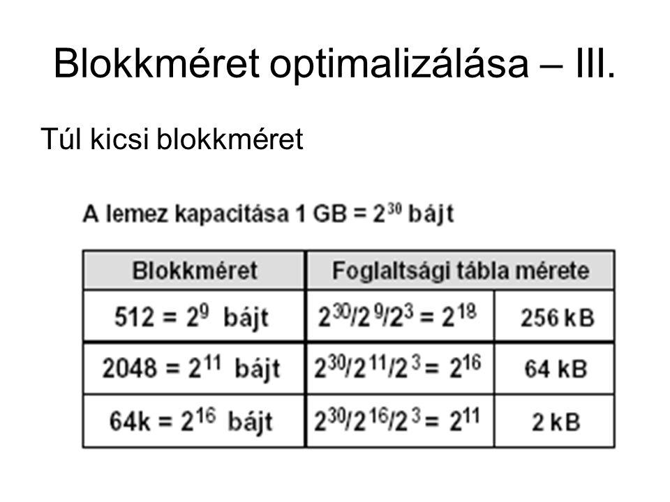 Blokkméret optimalizálása – III.