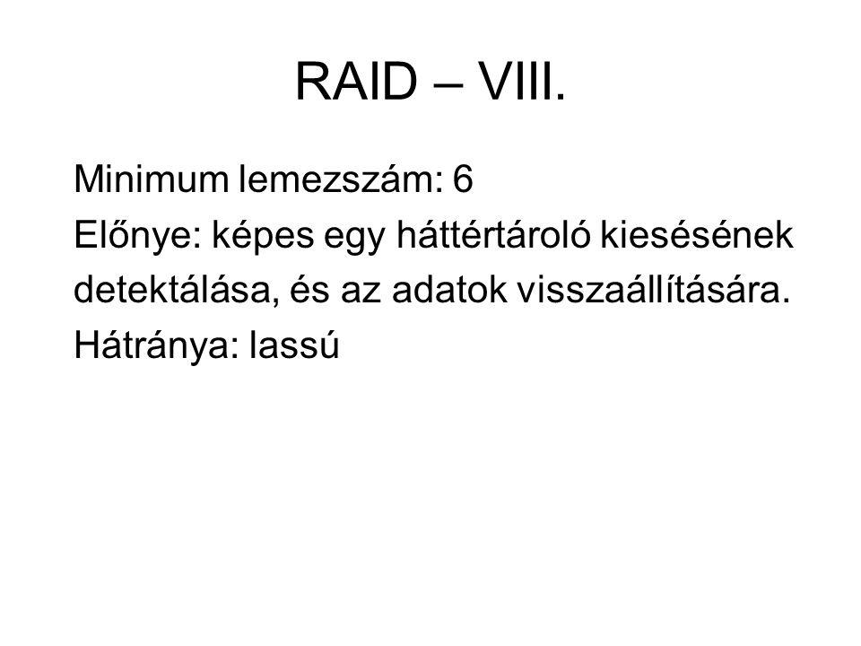 RAID – VIII. Minimum lemezszám: 6