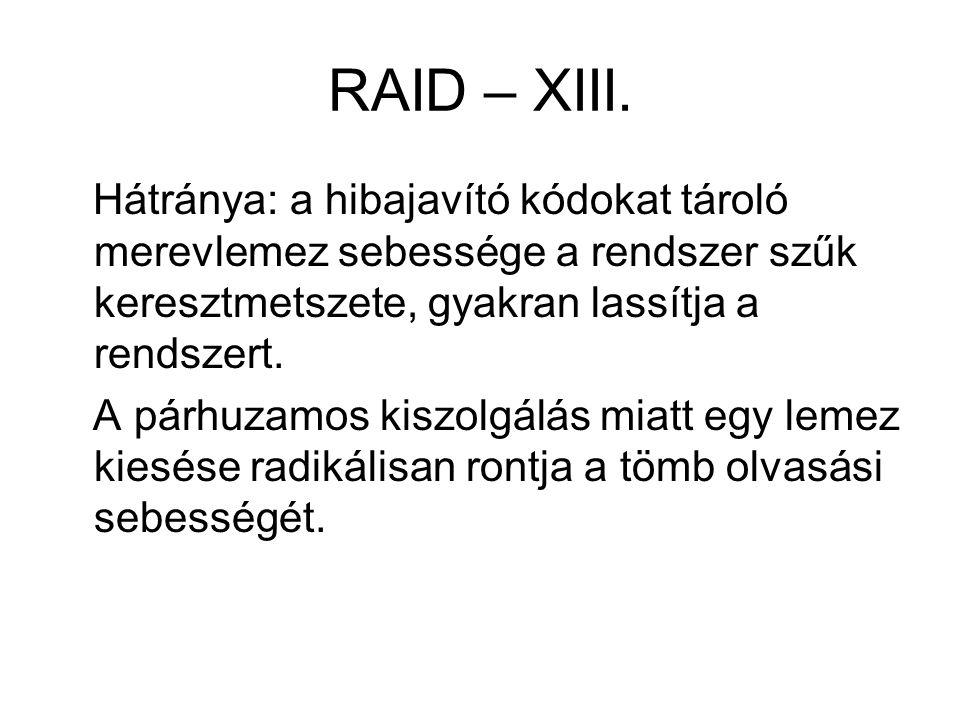 RAID – XIII. Hátránya: a hibajavító kódokat tároló merevlemez sebessége a rendszer szűk keresztmetszete, gyakran lassítja a rendszert.