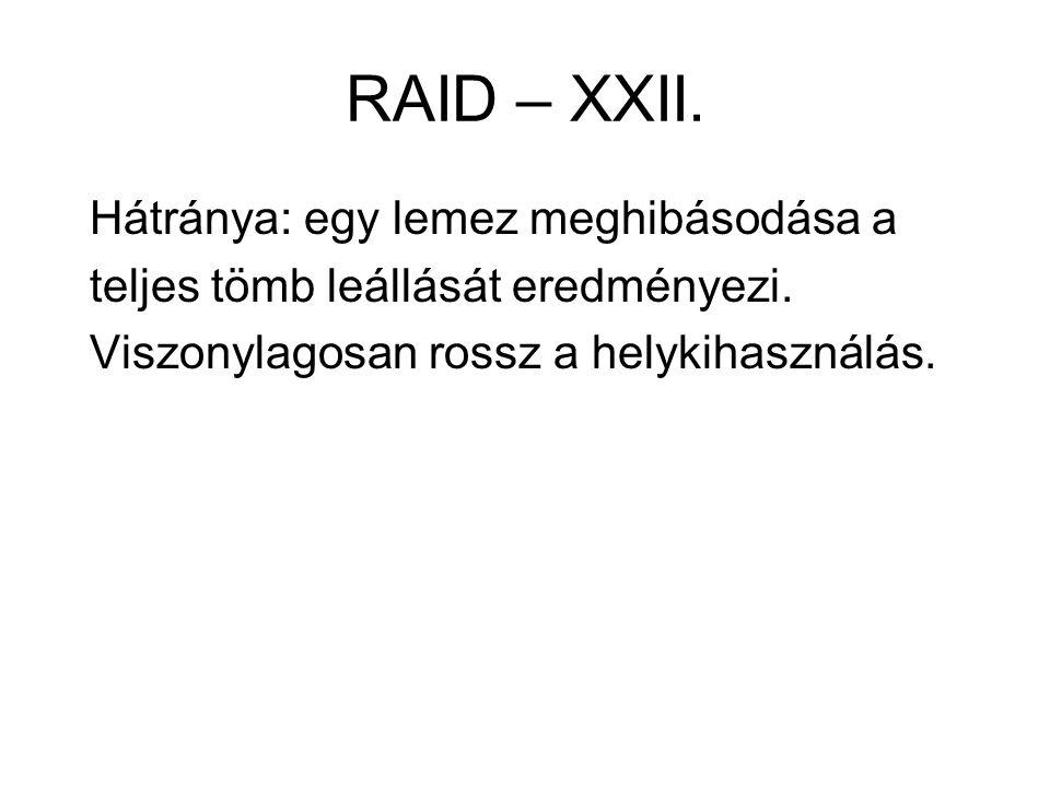 RAID – XXII. Hátránya: egy lemez meghibásodása a