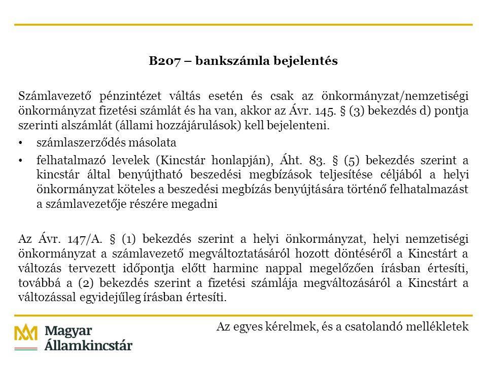 B207 – bankszámla bejelentés