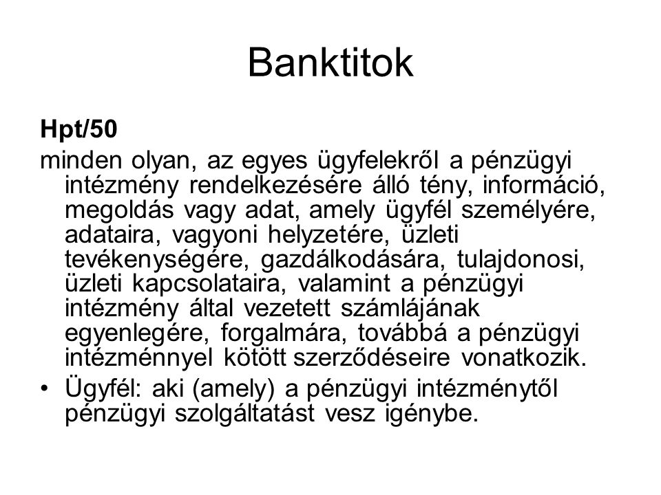Banktitok Hpt/50.