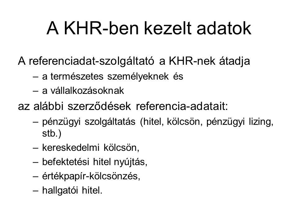 A KHR-ben kezelt adatok