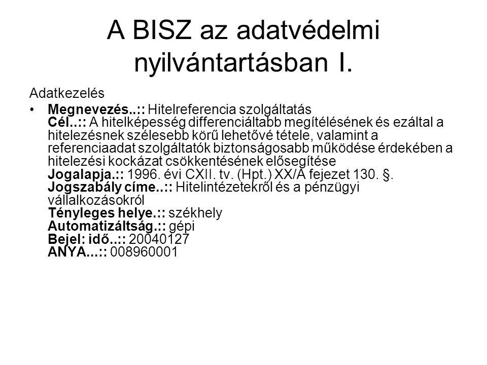 A BISZ az adatvédelmi nyilvántartásban I.
