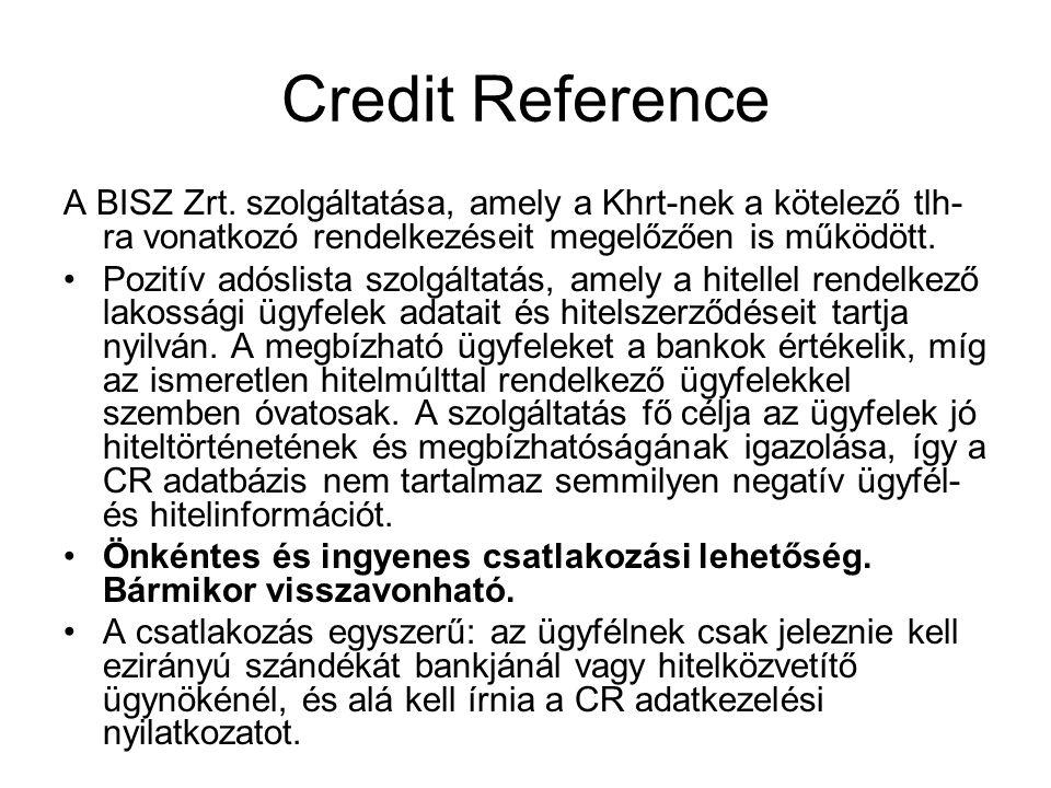 Credit Reference A BISZ Zrt. szolgáltatása, amely a Khrt-nek a kötelező tlh-ra vonatkozó rendelkezéseit megelőzően is működött.