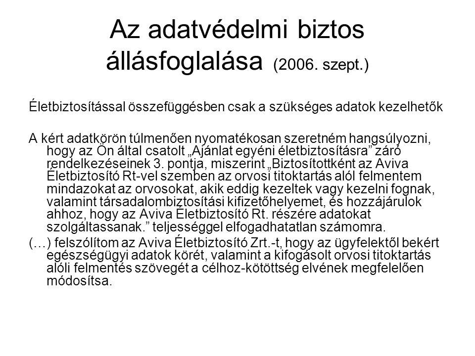Az adatvédelmi biztos állásfoglalása (2006. szept.)