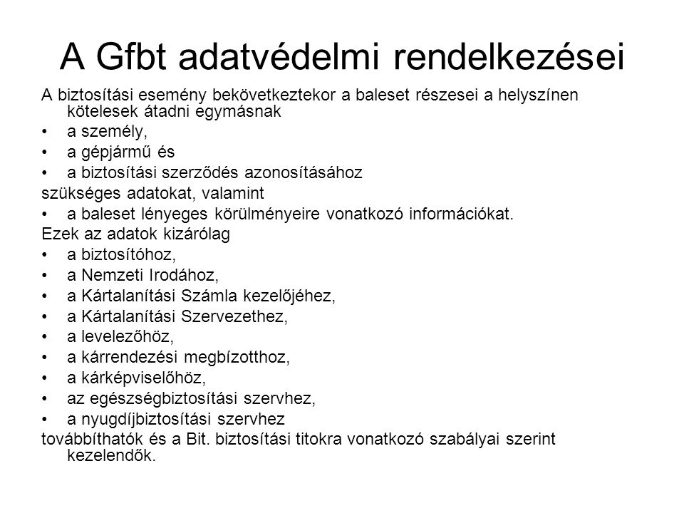 A Gfbt adatvédelmi rendelkezései