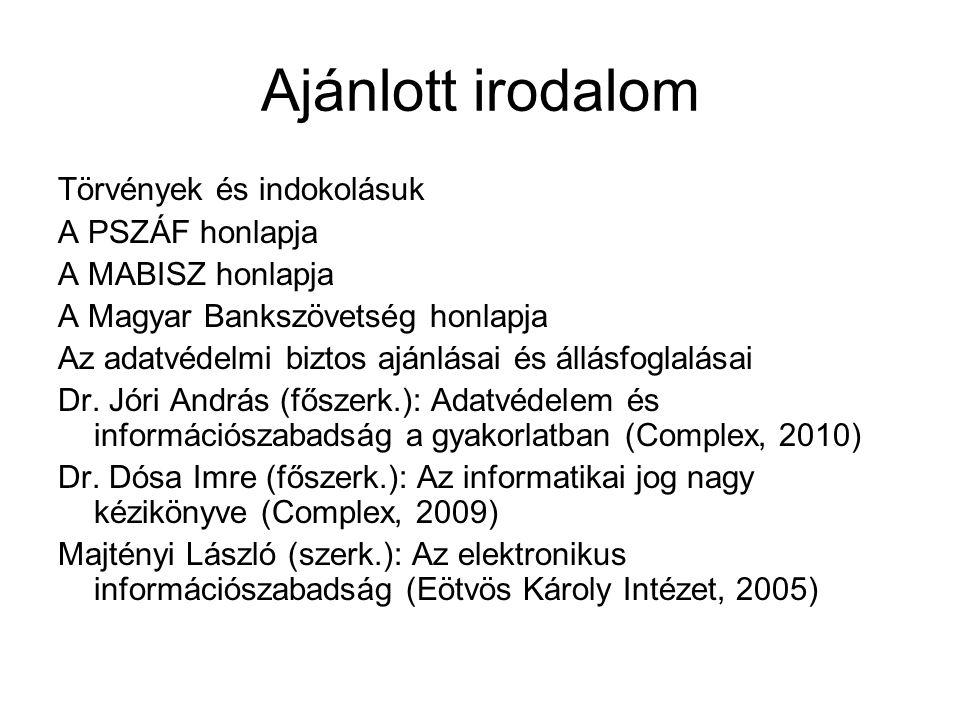 Ajánlott irodalom Törvények és indokolásuk A PSZÁF honlapja