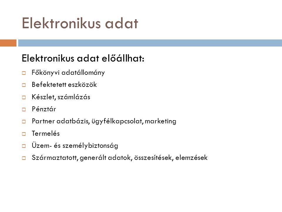 Elektronikus adat Elektronikus adat előállhat: Főkönyvi adatállomány