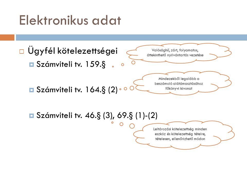 Elektronikus adat Ügyfél kötelezettségei Számviteli tv. 159.§