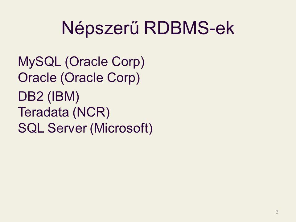 Népszerű RDBMS-ek MySQL (Oracle Corp) Oracle (Oracle Corp) DB2 (IBM) Teradata (NCR) SQL Server (Microsoft)